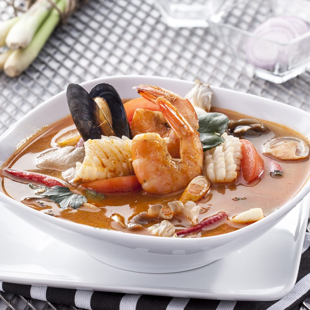 Tom Yum Seafood Soup with Rice